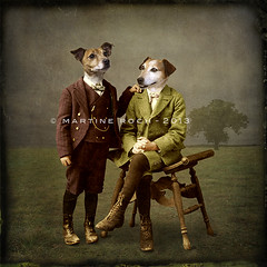 The brothers (Martine Roch) Tags: portrait dog pet art animal digital photoshop jack antique digitalart surreal photomontage jackrussellterrier manray martineroch flypapertextures