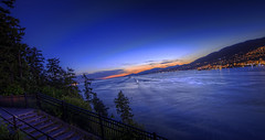 BC 1 (gryphon001) Tags: city longexposure sunset canada vancouver evening lowlight bc britishcolumbia citylights coastline stanleypark hdr topaz