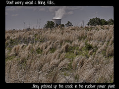 """DON'T WORRY. . ."" (NC Cigany) Tags: grass danger nc northcarolina utility steam electricity coolingtower grassy nuclearpowerplant newhill shearonharris 201305"