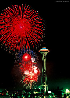 Space Needle - Fireworks - Seattle