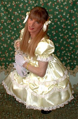yellow satin dress (shellyanatine) Tags: pink dress crossdressing sissy petticoat frilly