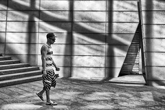 Stripes And Stripes (cazphoto.co.uk) Tags: summer people london monochrome wall architecture reflections mono steps shoreditch refraction canoneos7d canon40mmeff28stm
