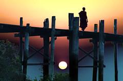 Sunset Over The U Bein Foot Bridge 2 (Artypixall) Tags: sunset burma getty myanmar mandalay pedestrianbridge faa amarapura buddhistmonk irrawaddyriver ubeinfootbridge