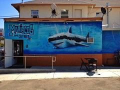 Finding Nemo (misterbigidea) Tags: ocean california blue urban building art beauty wall painting landscape restaurant shark scary artwork mural downtown cityscape underwater painted teeth attack scenic lagoon lunchtime business mexican jaws seafood predator chompers taqueria greatwhite lodi mariscos brucetheshark goingtoneedabiggerboat explore20130801