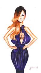 Barbados Babe (G-nuinart) Tags: art fashion illustration design dress purple drawing moda babe fanart barbados dibujo riri ilustracion rihanna genuina 2013 genuino