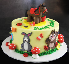 Farm Animal Cake (butterflybakeshop) Tags: nyc horse newyork rabbit bunny nature animal cake squirrel farm country bakery childrens customcake butterflybakeshop