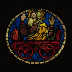 Elijah's hot wheels (shaggy359) Tags: santa old red italy glass wheel circle beard wagon florence hands hand wheels halo stained firenze cart elijah prophet chariot croce testament