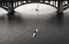 Sailing under the Lamar bridge (The Hustler (former Super Evil Brian)) Tags: leica bw film sailboat austin 50mm rangefinder coloradoriver m42 townlake ladybirdlake 50mmf35elmarcopy