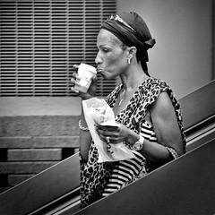 Coffee (CorH) Tags: street portrait people urban white monochrome blackwhite belgium belgie streetphotography antwerp antwerpen straatfotografie corh