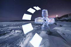 Shinning in the freezing night (inhiu) Tags: longexposure snow lightpainting ice lakebaikal ruassia nikond800 inhiu