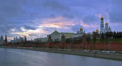 golden heads of kremlin (Sergey S Ponomarev - very busy) Tags: city winter light sunset sky church nature water night clouds canon landscape russia moscow ngc churches rivers hdr mosca kremlin russie  russland   60