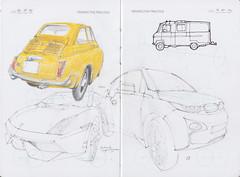 IDC Perspective Practice Page 22 (Flaf) Tags: auto car pencil vintage munich münchen automobile fiat drawing bmw florian 500 crayon lamborghini gallardo freie i3 neuhausen flaf afflerbach zeichnerei