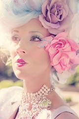 MA511 (nataliehenderson) Tags: pink flowers blue portrait woman sun love strange beauty fashion marie canon garden costume spring big pretty glow character creative warmth makeup wig portraiture antoinette melancholy conceptual avant garde whimsical effie trinket 6d