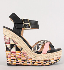 "strappy geo woven open toe platform black • <a style=""font-size:0.8em;"" href=""http://www.flickr.com/photos/64360322@N06/16165361729/"" target=""_blank"">View on Flickr</a>"