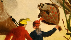 Warming up for the 49th Annual Flatfish-slapping Championship Final (dr_loplop) Tags: ocean blue red sea fish men water yellow painting beard boat weed flat salt hats sailors sail sole brill dab flounder halibut plaice slapping turbot flatfish megrim