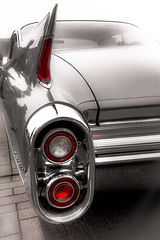 Cadillac's tail (vale0065) Tags: oldtimer tessenderlo zwartwit auto cadilac classic car tail light detail v8 selective color american cadillac fin tailfin eldorado 1960