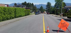 Road closed (D70) Tags: road new city mountains home up sign monster coast closed cone safety burnaby another probably services hooking 133366