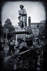 the night watch - rembrandtplein (tom_p) Tags: city holland amsterdam statue blackwhite iamsterdam fuji noiretblanc platz stadt fujifilm rembrandt x70 niederlande denkmal rembrandtplein schwarzweis biancoetnero fujifilmx70