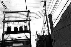 Wires Here, Wires There (mheidelberger2000) Tags: columbus urban blackandwhite lines indiana powerlines wires alleyway utilitypoles