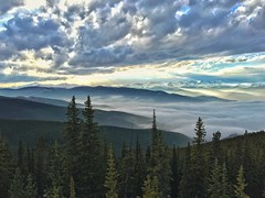 Inversion on the Front Range at Sunset (Darin Hagre) Tags: sunset mountains weather fog landscape colorado inversion forests