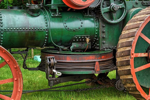 UK, Woolpit Steam Rally, Walsh & Clark Ploughing Tractor Cable Drum, HDR