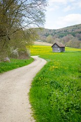 In the Countryside (Lautertal) (stefan_wolpert) Tags: nature composition landscape countryside hiking perspective meadow meadows trail hut valley distance valleys landscapephotography swabianalb lautertal
