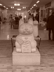 Kamakura Station  (Shutter Chimp: Im back!) Tags: station statue japan sepia cat kamakura  neko  kanagawa maneki