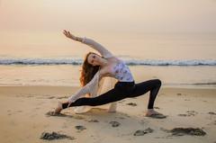 morning stretch (vikkiq) Tags: ocean morning sea beach girl pose newhampshire beautifullight nh dancer teen shore teenager hamptonbeach lunge