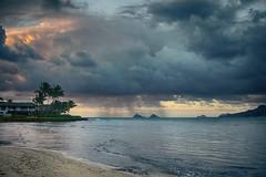 Kaimalino Sunrise (kellinwood) Tags: ocean sunrise hawaii oahu kailua kaimalino clouds rain mokoluas darktable sony a6000 kitlens hdr hdrefexpro