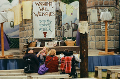 Same Group Waiting For The Washing Well Wenches, But Shot on Film (Robb Wilson) Tags: renaissance irwindale renaissancefaire 2016renaissancepleasurefaire washingwellwenches bawdyhumor jokes