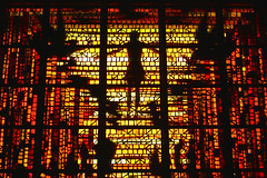 Saint Mary's Cathedral (nikosbreizh) Tags: light red color church window glass colors silhouette yellow christ cross religion jesus stainedglass
