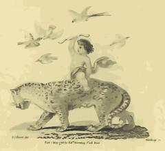 Riding Vectorized Leopards 2 (sjrankin) Tags: boy birds animal illustration edited library historic riding leopard cherub vector britishlibrary vectorized 29may2016