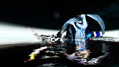 Bluebird / Artist : theda tammas (Bamboo Barnes - Artist.Com) Tags: pink blue light shadow moon white black reflection bird art water face photo darkness purple head digitalart vivid surreal secondlife virtualart thedatammas bamboobarnes