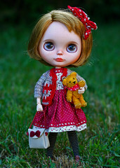 My little Noelle (zsofianyu) Tags: bear brown eye art shop one for eyes doll dress teddy handmade unique ooak s chips clothes kind bow lad blythe neo freckles etsy custom pure takara nicky cardigan seller tomy fa adoption neemo eyechips puppelina