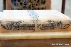 Lid of the Canopic Chest (konde) Tags: art chest tomb goddess 18thdynasty hieroglyphs valleyofthekings ancientegypt tutankhamun alabaster tutankhamon cairomuseum newkingdom canopic kv62 shenrings