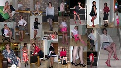 Collage 2009 (janegeetgirl2) Tags: red white black stockings contrast vintage neck tv high glamour dress jane crossdressing tgirl transvestite heels suspenders gee satin maid crossdresser halter ts petticoat stilettos fully nylons garters fashioned seams