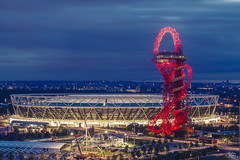 Olympic Park (Umbreen Hafeez) Tags: park city uk blue light england building london thames skyline architecture night buildings dark twilight europe long exposure cityscape elizabeth outdoor stadium low queen hour gb olympic orbit