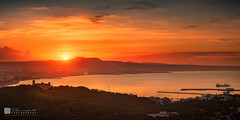 Sunrise in Palma Bay (Eden Exposito) Tags: castle sunrise sunset bellver mammal dawn panorama painting spain horseequuscaballus palma balearicislands mallorca color horizontal goldenhour europe bay landscape equestrian equine colour