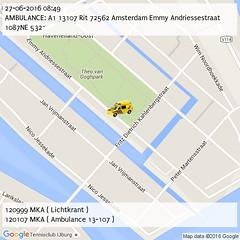AMBULANCE: A1 13107 Rit 72562 Amsterdam Emmy Andriessestraat 1087NE 532~ (08:49) (IJburg112) Tags: amsterdam 112 p2000 ijburg112