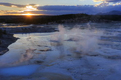 Sunset at Porcelain Springs (Chief Bwana) Tags: sunset yellowstonenationalpark yellowstone wyoming geyser nationalparks geothermal wy norrisgeyserbasin porcelainbasin geyserbasin porcelainsprings porcelainterrace psa104 chiefbwana