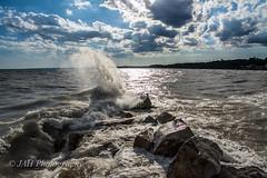 The Crash Of Waves (jah32) Tags: water waves sky skies clouds lakeerie lake lakes greatlakes thegreatlakes portstanley ontario canada light sunset sunsets sunlight horizon