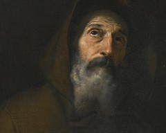 Jusepe de Ribera — St. Francis of Paola (detail), c. 1640. Painting: oil on canvas, 74 x 61.5 cm. Private collection.  This painting is dated by both Nicola Spinosa and Craig Felton to about 1640 on the basis of its close compositional and stylistic affin (ArtAppreciated) Tags: old man detail male art history saint closeup century portraits painting de beard francis religious details fineart saints monk blogs christian spanish portraiture devotion christianity spirituality baroque gaze figurative 17th upward realism ribera hyperrealism asceticism artblogs 1640s jusepe tumblr artoftheday artofdarkness date1640 artappreciated artofdarknessco artofdarknessblog