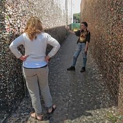 Bubblegum Alley (Viejito) Tags: selfie bubblegumalley bubblegum sanluisobispo california slo higuerastreet marshstreet broadstreet gardenalley usa unitedstates geotagged geo:lat=35279111 geo:lon=120663846 amerika amrique amrica america 500x500 square canon powershot s100 canons100 woman girl redhead brunette thong footwear bare feet toes legs barefoot barfssig piedsnus descalzo scalzo descalo distressed jeans tshirt slacks sandals goo disgusting wad gum wall alley gross leather kauwgom chewinggum chicle xiclet kocaosu    txiklea stance goth ripped torn