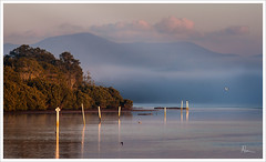 River Dawn 1 (caralan393) Tags: mist mountains reflection river dawn posts moruya