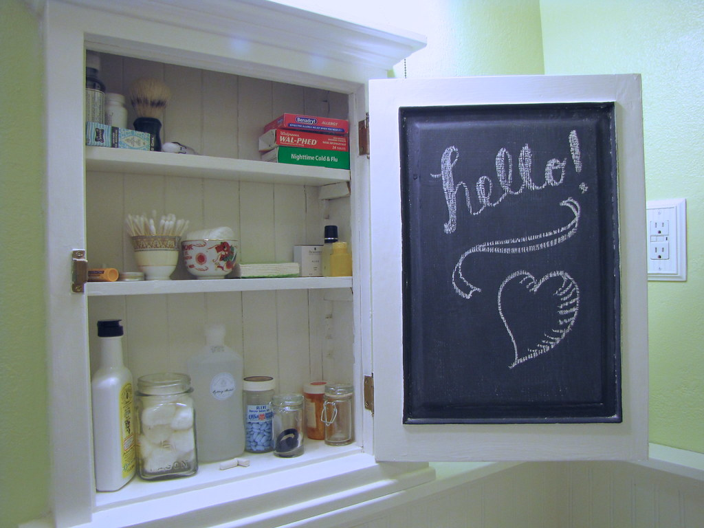Medicine cabinet chalkboard