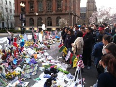 Gathering at the Makeshift Memorial (danielrobertf) Tags: boston memorial marathon strong makeshift boylston