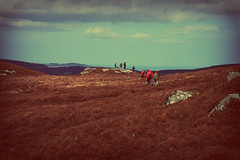 The fellowship of Scarr mountain (aoiharu) Tags: ireland sky people brown mountain clouds vintage hiking crossprocess wicklow wicklowmountains