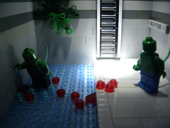 Father and son (Big Green Sea Monster) Tags: fight blood lego father son lizard billy curt marvel sewer connors