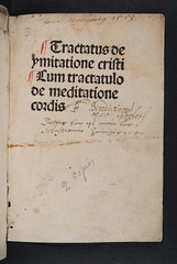 Title-page with ownership inscriptions of Thomas  Kempis: Imitatio Christi (University of Glasgow Library) Tags:  with thomas christi inscriptions select ownership titlepage imitatio kempis