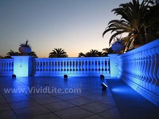 Wireless Event Lighting-VividLite Wireless LED Fixtures Banister illumination in Blue